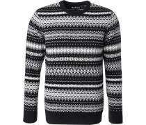 Pullover, Wolle, -weiß gemustert