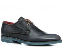 Schuhe Derby, Kalbleder, azzurro