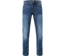Jeans, Straight Fit, Baumwoll-Stretch, indigo