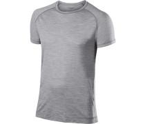 T-Shirt, Regular Fit, Wolle-Seide, hell meliert