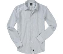Hemd, Slim Fit, Popeline, -schwarz gestreift