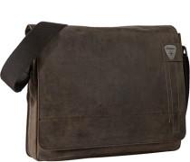 Messengerbag, Rindleder, dunkel