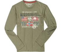 T-Shirt Longsleeve, Baumwolle, oliv