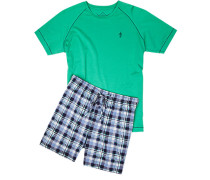 Schlafanzug Pyjama, Baumwolle, -blau kariert