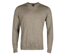Pullover, Modern Fit, Merinowolle, nougat