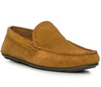 Schuhe Mokassin, Veloursleder, cognac