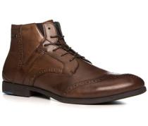 Schuhe Schnürstiefeletten, Leder, kaffee