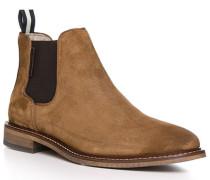 Schuhe Chelsea Boots, Kalbvelours, cognac