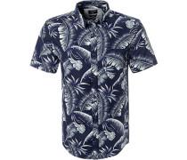 Kurzarmhemd, Modern Fit, Popeline, navy gemustert