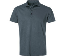 Polo-Shirt, Baumwolle, anthrazit meliert