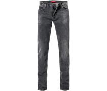 Jeans, Slim Fit, Baumwoll-Stretch, schwarz