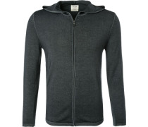 Cardigan, Body Fit, Schurwolle, anthrazit meliert