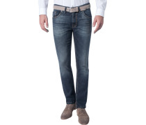 Jeans, Modern Fit, Baumwoll-Stretch, dunkel