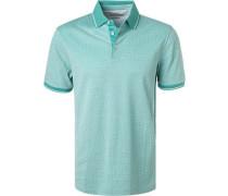 Polo-Shirt, Baumwoll-Piqué, türkis gemustert