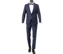 Anzug, Slim Fit, Schurwolle, -schwarz gemustert