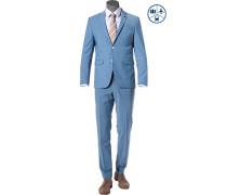 Anzug, Shape Fit, Schurwoll-Stretch, bleu meliert