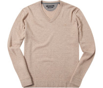Pullover, Shaped Fit, Schurwolle,  meliert