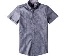 Hemd, Slim Fit, Baumwolle, marine gemustert