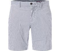 Hose Shorts, Baumwolle, rauch-weiß gestreift
