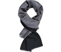 Schal, Wolle-Seide, blau gemustert