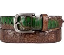 Gürtel cognac-smaragd, Breite ca. 3,5 cm