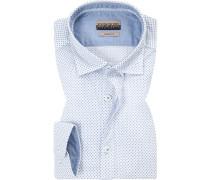 Hemd, Slim Fit, Popeline, -blau gemustert