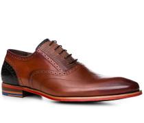 Schuhe Oxford, Leder, cognac-navy gemustert