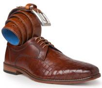 Schuhe Derby mit Gürtel, Leder, cognac