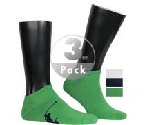 Sneakersocken, Baumwolle, dunkel-weiß-hellgrün