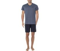 Schlafanzug Pyjama, Baumwolle, navy gestreift