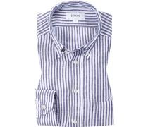 Hemd, Slim Fit, Leinen, weiß-navy gestreift