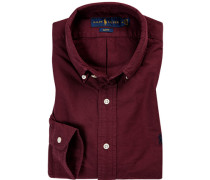 Hemd, Slim Fit, Baumwolle, bordeaux