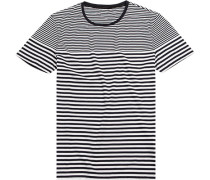 T-Shirt, Slim Fit, Baumwolle, navy-weiß gestreift