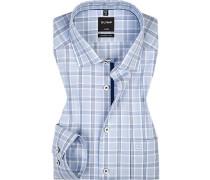 Hemd, Modern Fit, Popeline, bleu-weiß kariert