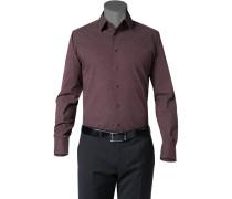 Hemd, Slim Fit, Baumwolle, dunkel gemustert
