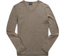 Pullover, Baumwolle-Leinen, taupe meliert