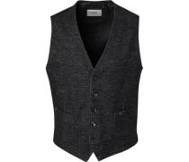Anzugweste, Baumwolle, -schwarz meliert