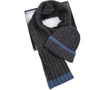 Mütze+Schal in Geschenkbox, Lammwolle,  meliert