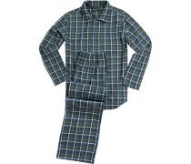 Pyjama, Baumwolle, oliv-jeansblau kariert