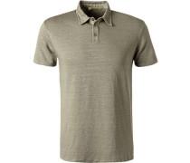 Polo-Shirt, Leinen, khaki meliert