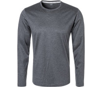 T-Shirt Longsleeve, Baumwolle, dunkel meliert