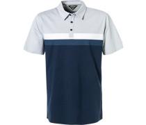 Polo-Shirt, Baumwolle, dunkel-weiß meliert