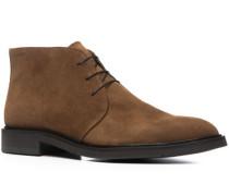 Schuhe Schnürstiefeletten, Veloursleder, cognac