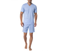 Schlafanzug Pyjama, Baumwolle, bleu