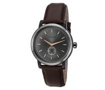 Uhren Uhr, Edelstahl-Lederband, schoko-silber