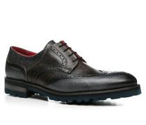Schuhe Budapester, Leder-Texti, azzurro