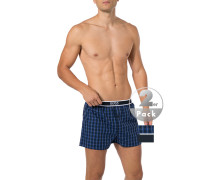 Schlafanzug Pyjama-Shorts, Baumwolle, royal-navy