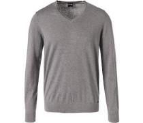 Pullover, Modern Fit, Seide-Kaschmir, hell meliert