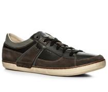 Schuhe Sneaker, Velours-Glattleder, -dunkelbraun