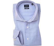 Hemd, Modern Fit, Strukturgewebe, bleu gemustert